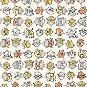 Scattered Nerd Bird Pattern