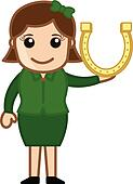 Woman Presenting Lucky Horseshoe