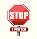 stop depression road sign illustration design