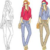 Vector beautiful fashion girls top models with glasses