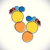 Abstract colorful pair of people's footprint- vector graphic.