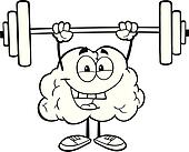 Outlined Brain Lifting Weights