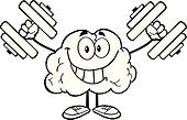 Outlined Brain With Dumbbells