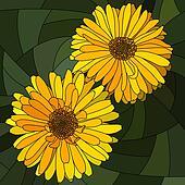 Mosaic of flower yellow calendula.