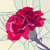 Mosaic of flower red carnation.