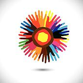 Colorful hand icons as petals of flower: happy community concept