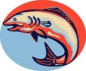 Atlantic Salmon Fish Jumping Retro