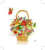 Four seasons. Basket with leaf and flowers for your design