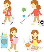 shopping, cleaning, washing, cookin