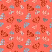 Pattern with colorful butterflies of random size