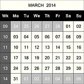 March 2014 Calendar Planner with number for each Weak