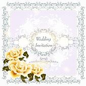 Invitation wedding card with swirl ornament and roses