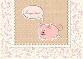 Floral background with funny pig