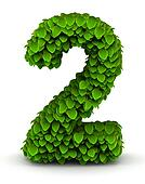 Number 2, green leaves font