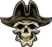 Pirate Skull. Hand drawn. Vector eps8