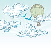 Hot air balloon over blue sky vector illustration, holiday travel concept