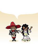 Mexican cartoon couple social media buble