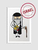 Jewish cartoon person postal stamp