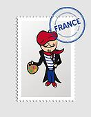 French cartoon person postal stamp