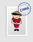 Chinese cartoon person postal stamp