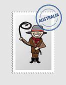 Australian cartoon person postal stamp