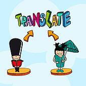 Translation concept  english chinese  people cartoon.