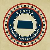 Vintage label Kansas
