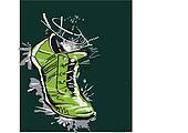 Graphic running shoe, Vector