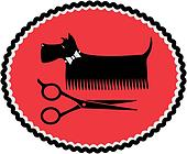 sign with grooming dog and scissors