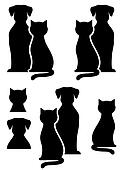isolated dog and cat silhouette