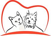 Cat and dog love heart logo vector