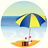 beach paradise with umbrella vector illustration