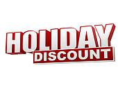 holiday discount red white banner - letters and block