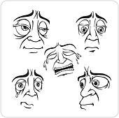Sad facial expressions - vector set.