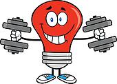 Red Light Bulb With Dumbbells