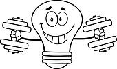 Outlined Light Bulb With Dumbbells