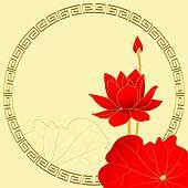 Oriental Lotus Flower on Yellow Background