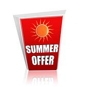 summer offer red banner with sun
