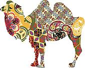camel in ethnic patterns