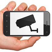 Safety concept: Cctv Camera on smartphone