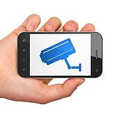 Protection concept: Cctv Camera on smartphone