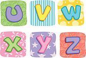 Quilt Alphabet Letters U V W X Y Z