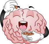 Brain Mascot Eating Peanuts