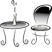 Flower Vase, Table and Chair in Black and White