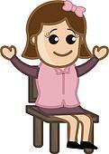 Happy Female Sitting on Chair