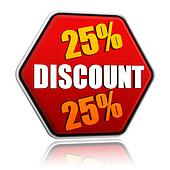 25 percentages discount in red hexagon banner