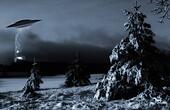 space-ship in a dark winter night