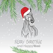 Horse merry Christmas card 2014 yea