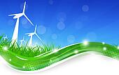 Green Power Wind Turbines Illustration