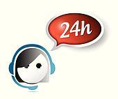 24 hour customer support illustration design